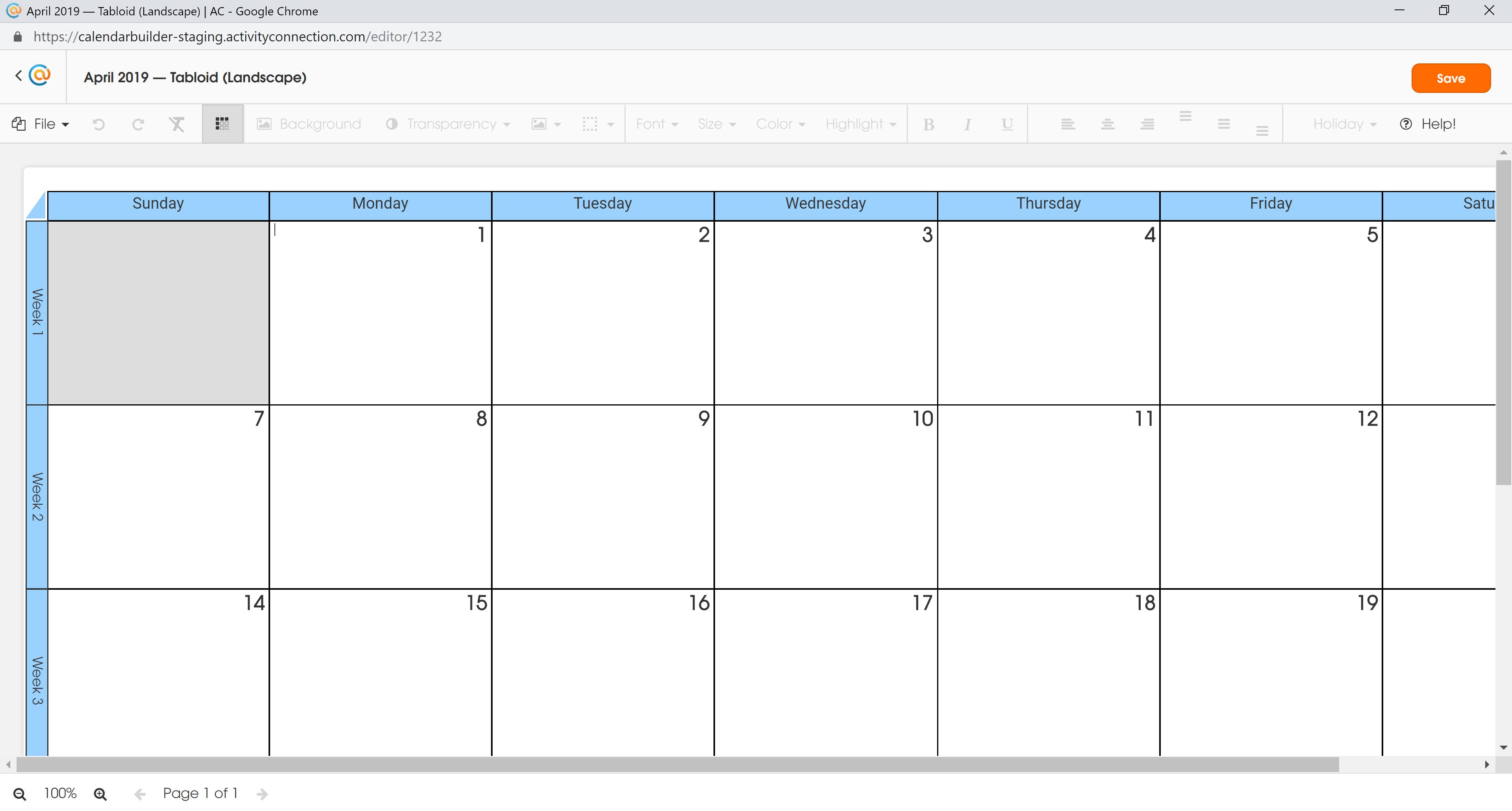 Calendar - MS Selected