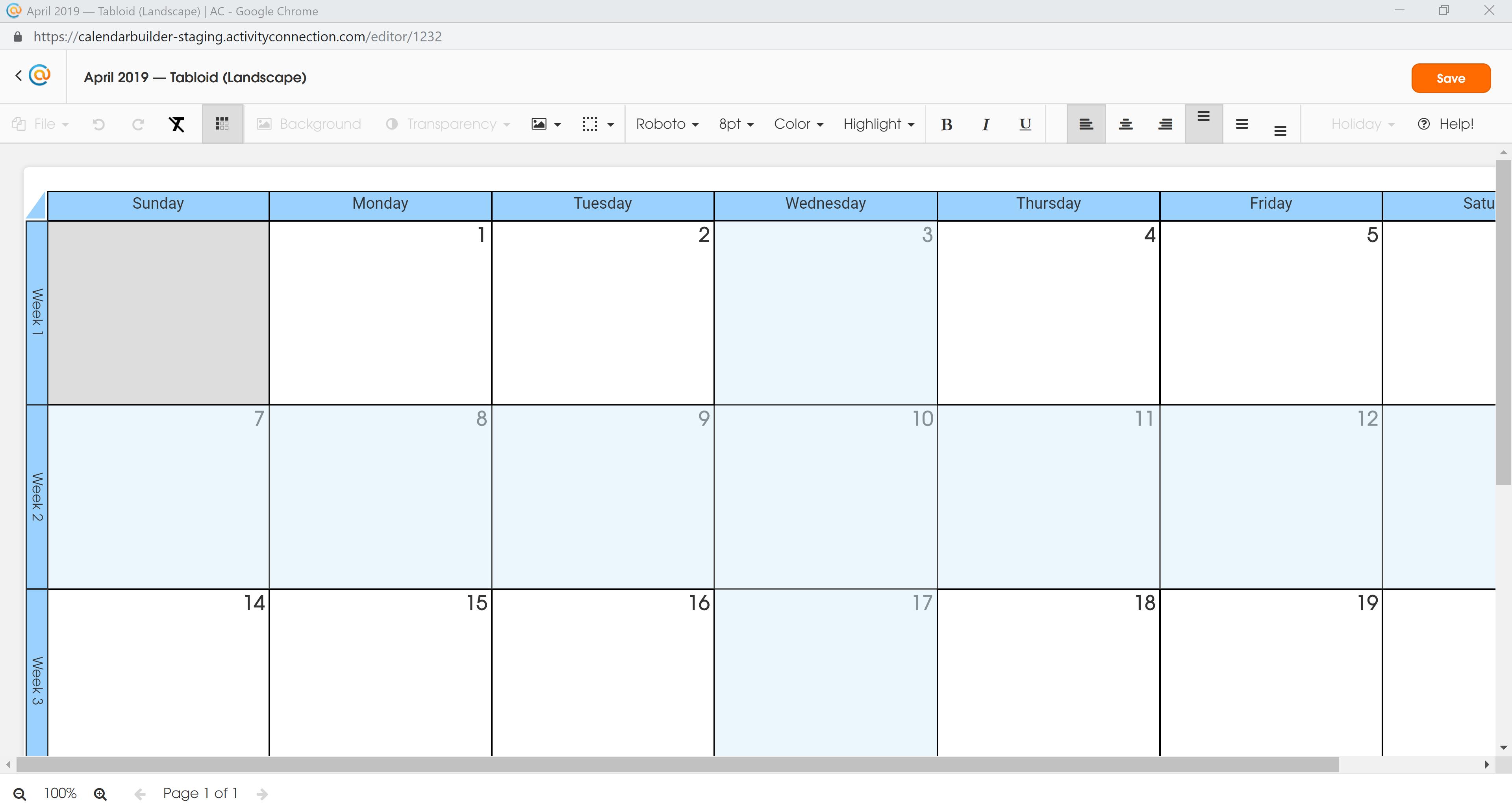 Calendar - Row and Column Selected
