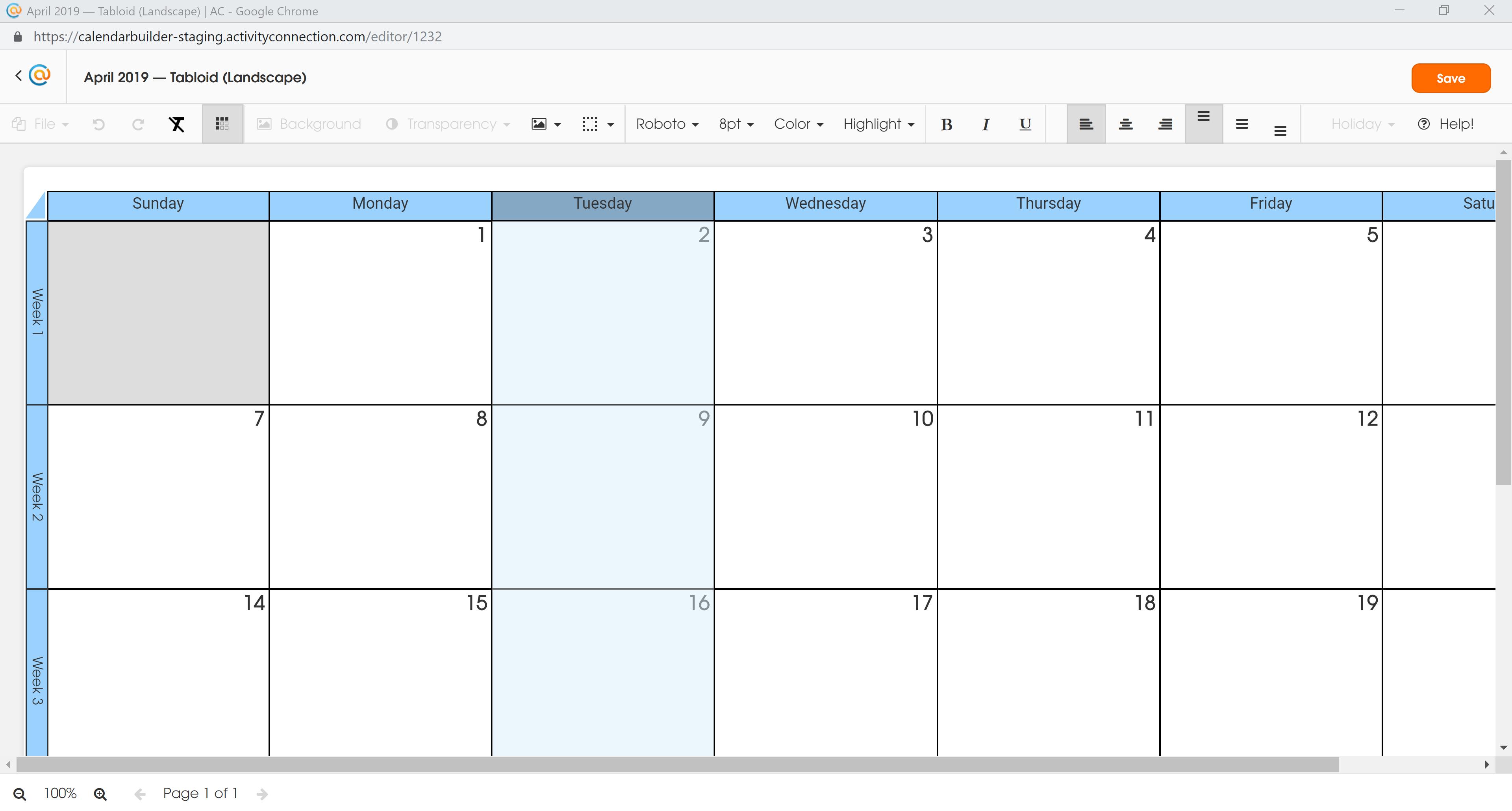 Calendar - Tuesday Selected