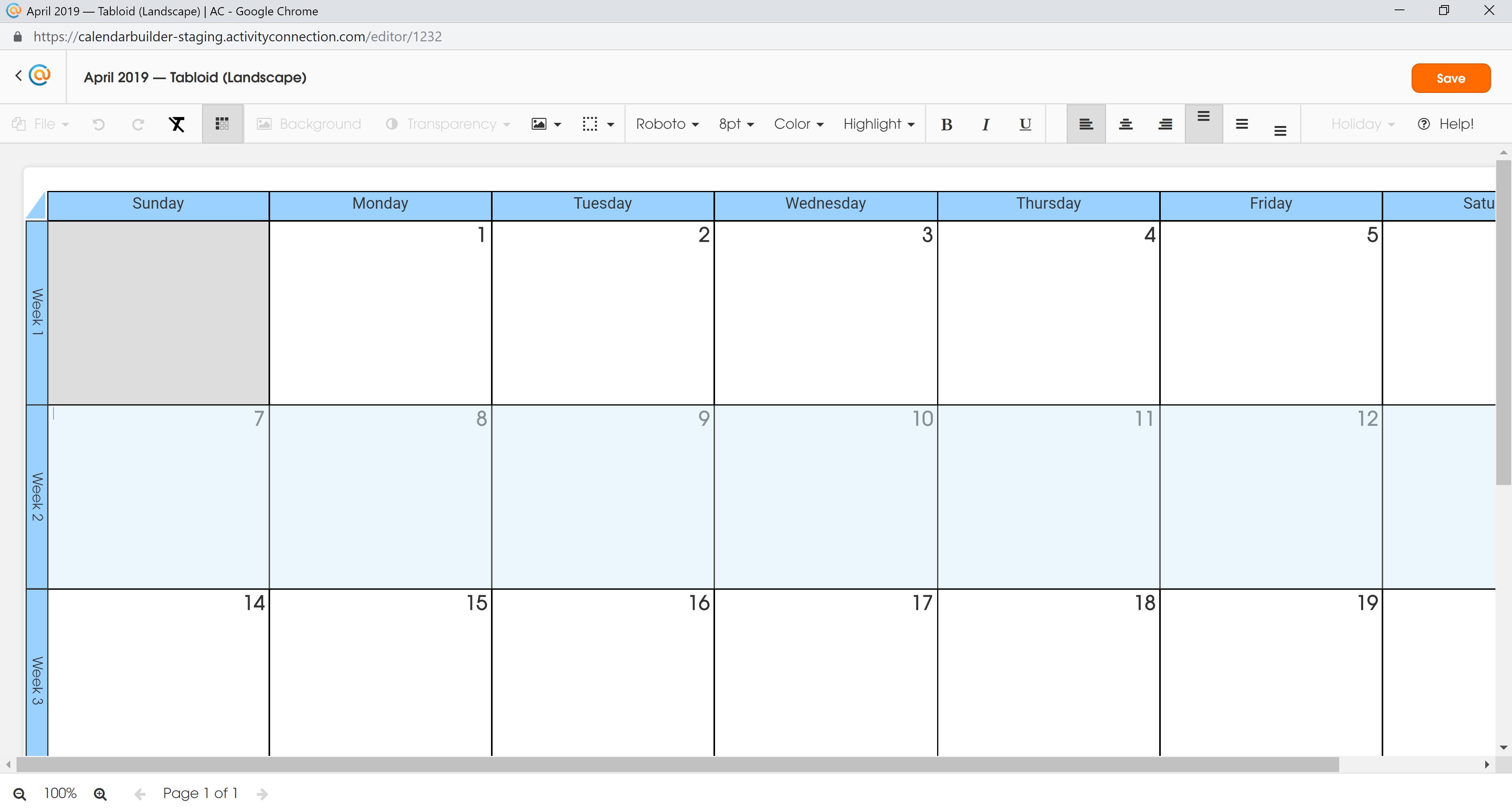 Calendar - Week 2 Selected